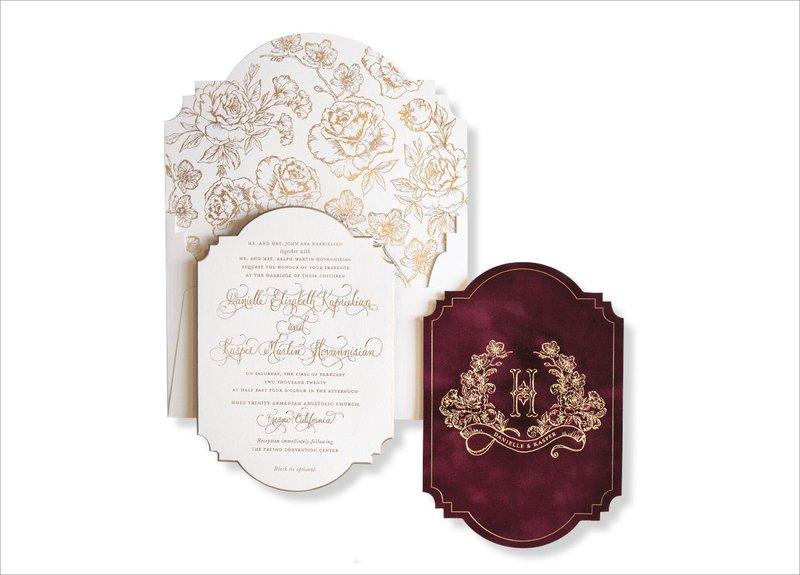 Luxurious Gold & Burgundy Wedding Invitation