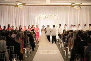 bride-groom-with-parents-attendants-white-gold-ballroom-ceremony-original-runner-company-aisle