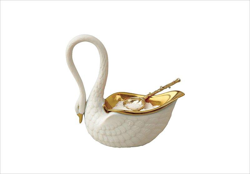 L'Objet White Swan Salt Cellar with Spoon