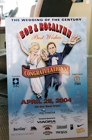 rosalynn-sumners-and-bob-kain-caricature-on-wedding-poster