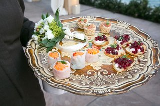 wedding-vow-renewal-tray-passed-appetizer-hors-doeuvre-on-tray-sushi-crostini-bruschetta-beets-fish
