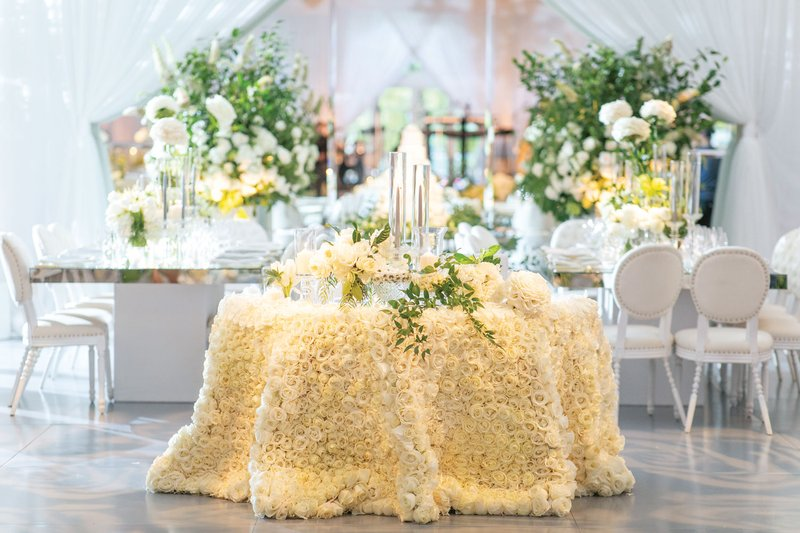 White Wedding Reception Sweetheart Table