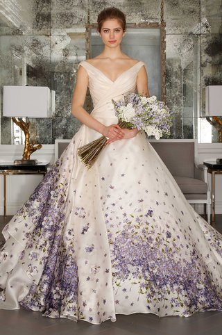 romona-keveza-collection-bridal-spring-2017-ball-gown-wedding-dress-purple-flower-print-drape-bodice