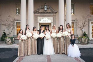 bridesmaids-wearing-long-gold-sequin-bridesmaid-dresses