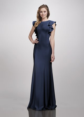 theia-bridesmaids-spring-2018-fitted-bridesmaid-dress-pleated-skirt-high-neck-cap-sleeves-flare-navy