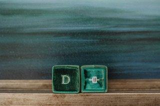 emerald-cut-ring-green-box-velvet-jewelry-engagement-maine-wedding-pave-band-monogram-custom