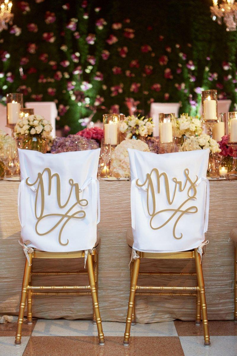 Laser-Cut Mr. & Mrs. Chair Signs