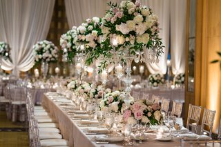 wedding-reception-long-table-clear-acrylic-chair-linen-high-low-centerpiece-candelabra-candlelight