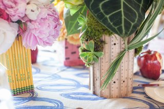 school-theme-bridal-shower-green-flowers-leaves-and-succulents-rulers-pencils-pink-flowers