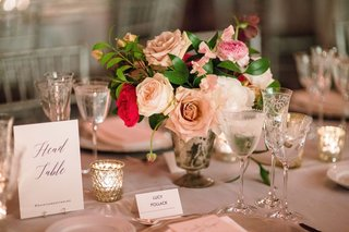 head-table-grey-reception-table-candle-votive-pink-roses-flowers-greenery-silver-vase-simple
