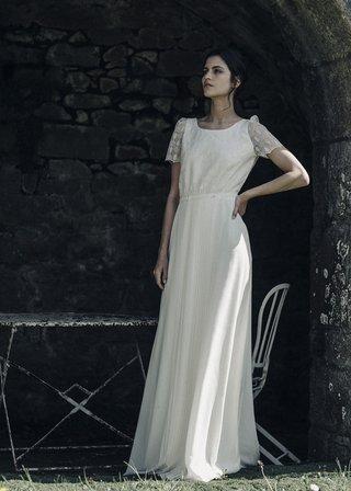 laure-de-sagazan-2017-collection-beranger-square-neck-illusion-cap-sleeves-embellished-pleated-skirt