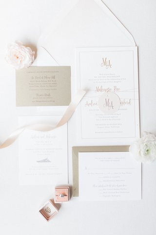 wedding-invitation-suite-white-gold-details-pink-ring-box-velvet-ribbons