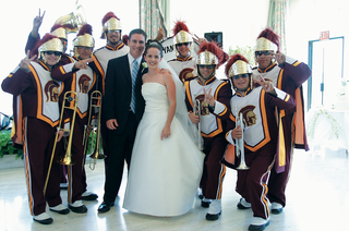 bride-and-groom-with-university-of-southern-california-marching-band