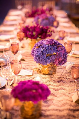 purple-hydrangeas-in-gold-vases