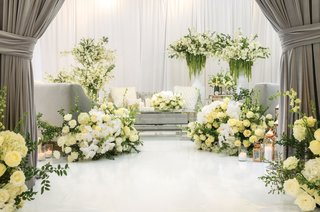 white flower and silver detail wedding reception styled shoot