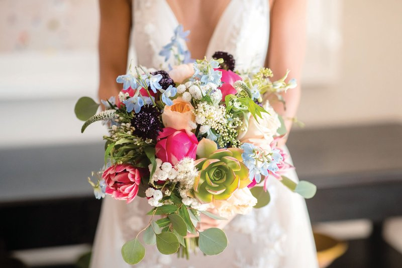 Colorful Bridal Bouquet for Beach Wedding