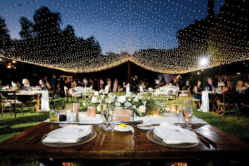 Ceiling of String Lights at Outdoor Wedding