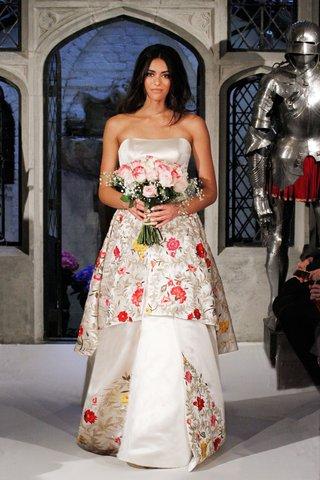 oleg-cassini-spring-2018-wedding-dress-strapless-colorful-pink-yellow-rose-flower-print-ball-gown