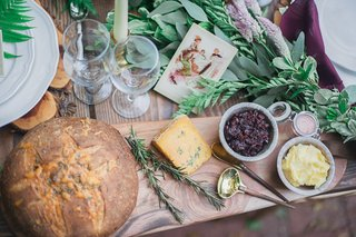 bread-cheese-wood-board-rustic-celtic-wedding-jams-sauce