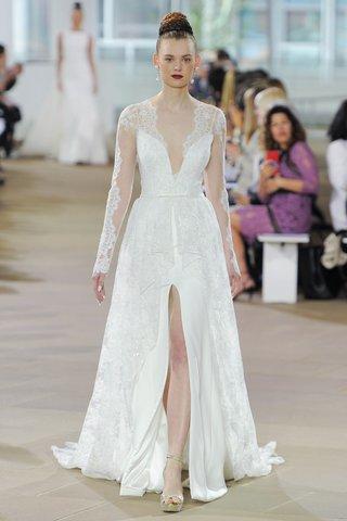 ines-di-santo-spring-2018-long-sleeve-plunging-v-neck-coat-bow-belt-lingerie-strap-slip-dress