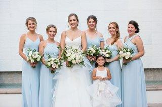 wedding-portrait-bride-v-neck-gown-bridesmaids-light-blue-mismatch-necklines-flower-girl