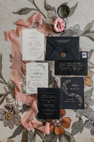 wedding-invitation-suite-daughters-of-simone-co-owner-ashley-black-and-gold-wax-seal-invitations