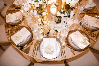 round table mirror top silver gold decor details candle votives gold flatware wedding