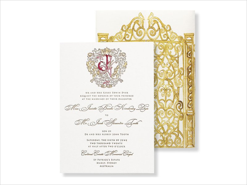 Monogram Invitation with Gate Detailing