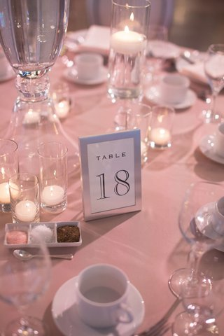 wedding-reception-same-sex-wedding-silver-frame-table-number-on-pink-linens-glass-votives-candles