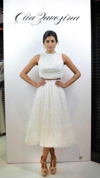 olia-zavozina-spring-2017-amelia-two-piece-wedding-dress-tea-length-lace-skirt-and-high-neck-croptop