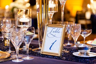 white-and-navy-blue-stationery-with-gold-frame-for-wedding-table