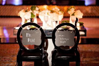sweetheart-table-bride-and-groom-signs-black-chairs-mirror-table