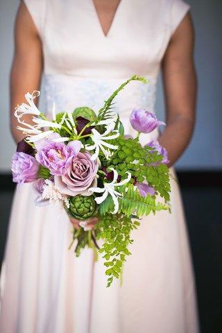 wedding-bouquet-bridesmaid-greenery-artichoke-purple-flower-amaranthus-scabiosa-white-flowers