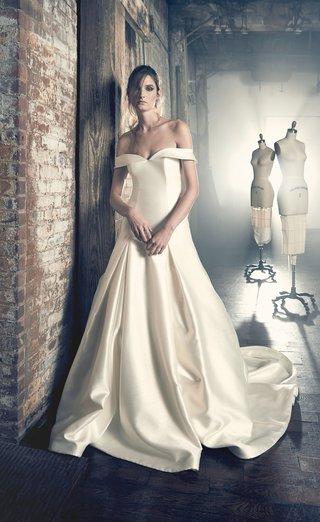 sareh-nouri-fall-2018-wedding-dress-ethel-drop-waist-gown-satin-silk-off-shoulder-pleats