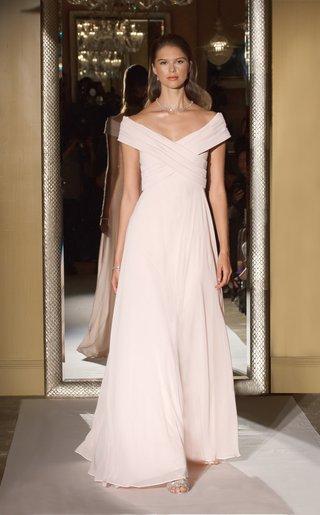 oleg-cassini-davids-bridal-bridesmaid-dress-long-skirt-off-shoulder-gown-chiffon-pink