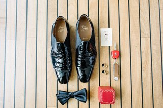 grooms-patent-leather-dress-shoes-bow-tie-red-ring-box-room-key-cuff-links-groom-accessories