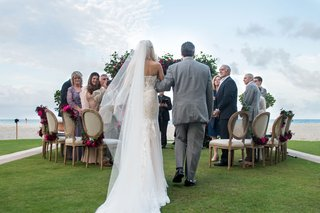 bride-in-strapless-wedding-dress-long-veil-with-father-in-grey-suit-oceanfront-wedding-acqualina