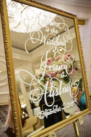 wedding-reception-welcome-sign-gold-frame-mirror-white-calligraphy-script-and-wedding-date