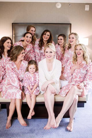 bride-white-robe-bridesmaids-pink-robes-patterns-getting-ready-beauty-dallas-wedding-flower-girl