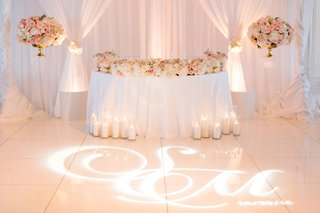 wedding-reception-pink-and-gold-white-color-palette-lighting-design-gobo-monogram-on-dance-floor