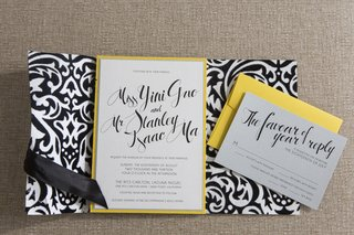 black-velvet-damask-wedding-invite-with-yellow-accents