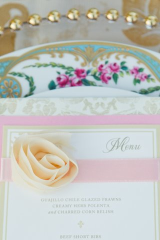 outdoor-wedding-reception-with-gold-white-pink-menu-rosy-ribbon-pastel-yellow-rosette