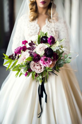shades-of-purple-cream-bridal-bouquet-wedding-styled-shoot-vintage-themed-marsala-colors-roses-fall