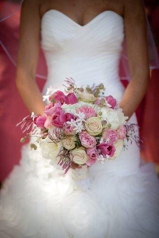 bride-maggie-sottero-white-wedding-dress-bouquet-pink-tulip-peony-white-rose-stephanotis