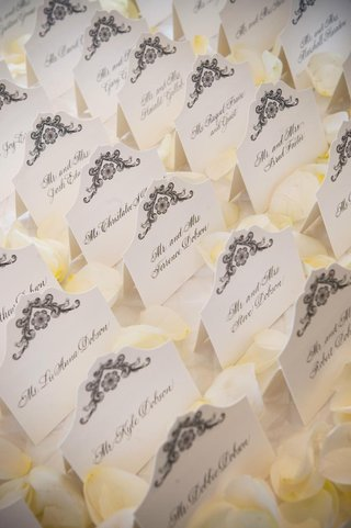 seating-card-display-on-bed-of-rose-petals