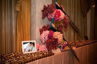 wedding-favors-table-with-pink-flowers-and-peacocks