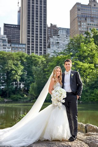 bride-in-galia-lahav-wedding-dress-and-cathedral-veil-with-groom-in-white-bow-tie-new-york-city