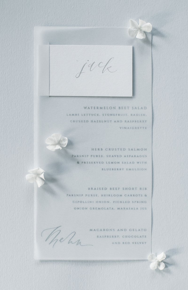 White Menu Design
