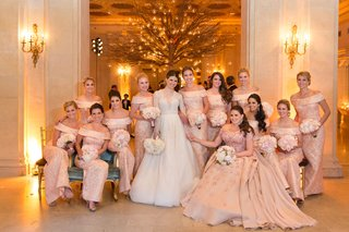 bride-in-reem-acra-wedding-dress-with-off-shoulder-blush-dress-with-matron-of-honor-applique-dress