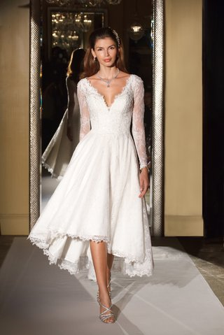 oleg-cassini-davids-bridal-wedding-dress-long-sleeve-deep-v-short-high-low-gown-lace-sleeves